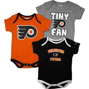 Philadelphia Flyers Newborn 3pc Foldover Neck Creeper Set (6-9M)