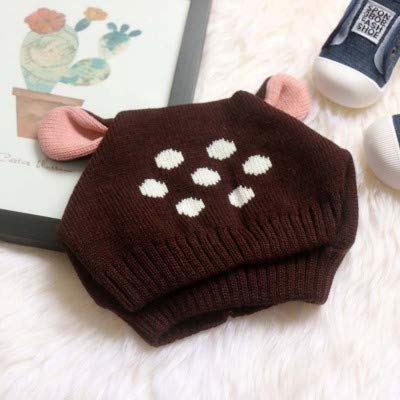 Fashion Warm Comfortable Hats for Women Baby cute deer ears knit hat baby hat boys and girls warm winter earmuffs plus fluffy wool hat tide Color : Dark brown, Size : 10-36Month