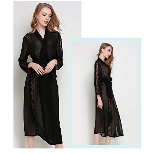 Chiffon JZLPIN Pizzo Accappatoio Leggero Biancheria Nero da Manica Notte Sexy lunga Trim nbsp;Robes Kimono Donna Lungo aSnwErSqf