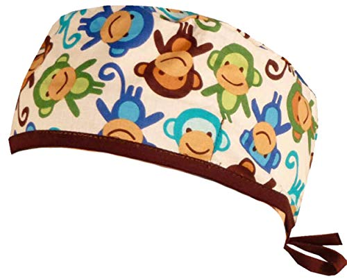 Mens and Womens Scrub Cap - Tossed Monkey's