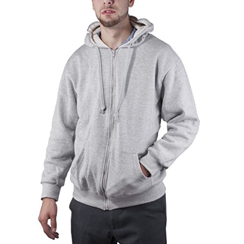 Artic Pole Men's Heat retention Cotton Polyester Thermal Lined Hoodie Jacket Large, Heather Grey (Lined Hoody Thermal)