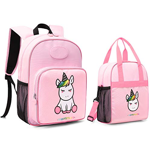 mommore Cute Unicorn Kids Backpack with Insulated Lunch Bag for Boys/Girls, Pink]()
