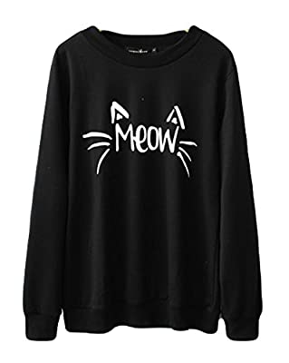 Halife Women's Cute Cat Face and Meow Letter Print Lightweight Sweatshirt