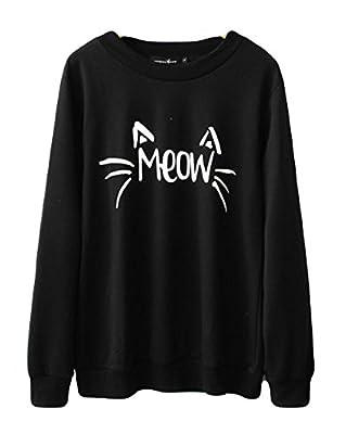 Halife Women's Cute Cat Face and Meow Letter Print Lightweight Sweatshirt