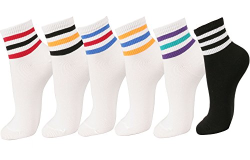 Women Triple Stripe Ankle Socks 6pair (One Size, 6Pair-Triple Stripe)