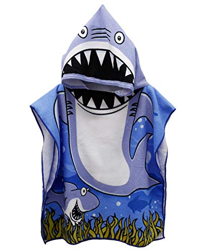 Genovega Toddler Hooded Beach Bath Towel - Baby Shark Soft Beach Towel Swim Pool Coverup Poncho Cape for Boys Kids Children Gift, 1-7 Years Old Bath Robe]()