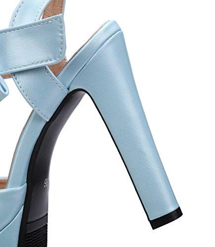Couleur Femme Haut Velcro Unie Sandales AalarDom Petite Talon à Bleu Ouverture 8qWRqI14