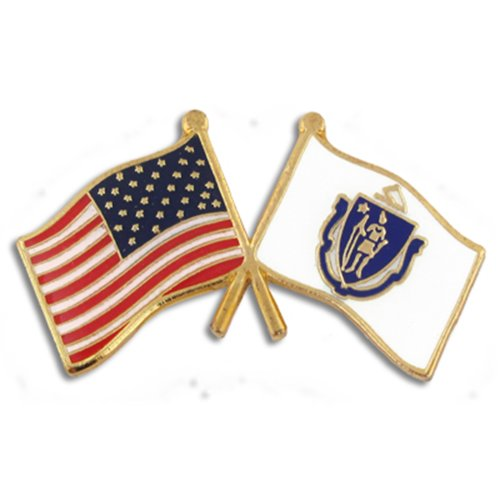 PinMart Massachusetts and USA Crossed Friendship Flag Enamel Lapel Pin