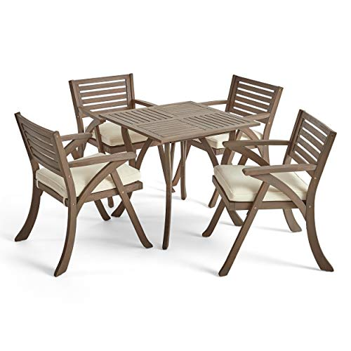 (Great Deal Furniture Deandra Outdoor 4-Seater Acacia Wood Dining Set with Square Table, Gray and Creme)