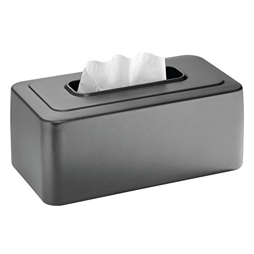(mDesign Modern Metal Tissue Box Cover for Disposable Paper Facial Tissues, Rectangular Holder for Storage on Bathroom Vanity, Countertop, Bedroom Dresser, Night Stand, Desk, Table - Slate)