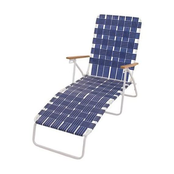 Rio Brands BY405-0138 Hi Back Web Chaise, Blue - White Powder Coated Steel Frame Blue Woven Webbing Hardwood Arms - patio-furniture, patio-chairs, patio - 41Q6z98yI3L. SS570  -