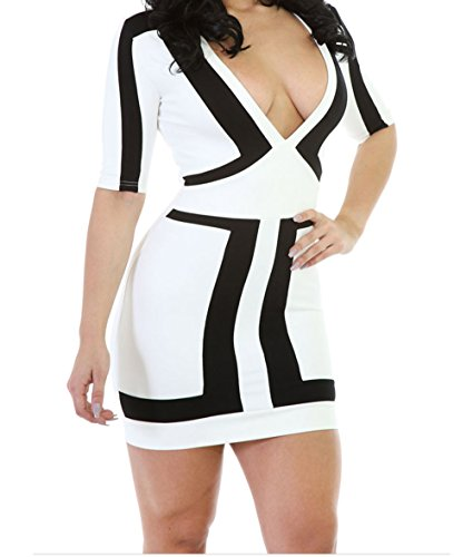 TomYork Accent Colorblock Half Sleeves Sexy Mini Dress(White,M) (Sexy Maid Lingere)