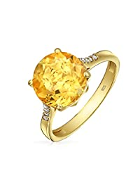 3CT Brilliant Solitaire Gemstone Zircon Yellow Citrine Topaz Ring For Women 14K Gold Plated Silver November Birthstone