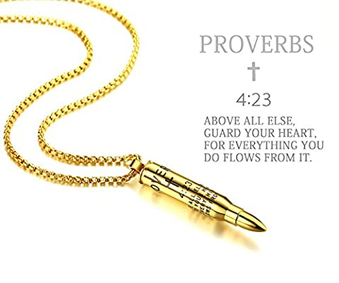 Reve Bible Verse Proverbs 4:23 Stainless Steel Cross Bullet Pendant Necklace for Men, 20''-22'' Chain (Gold Tone(S): 1.570.27'' Bullet + 20'' (Gold Cross Necklace 20 Inch)