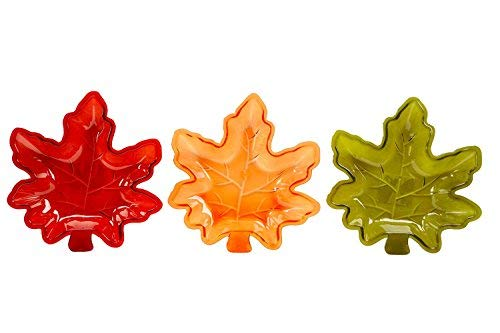 Fall Autumn Maple Leaf Stackable Salsa Bowls, Snack, Dip, Crackers, Olives, Nuts or Candy (3, Fall Harvest Multi)