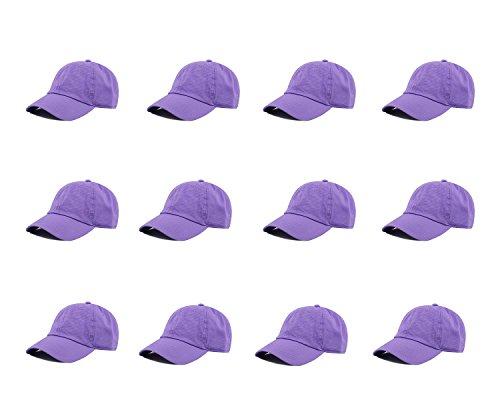 Gelante Baseball Caps 100% Cotton Plain Blank Adjustable Size Wholesale LOT 12 Pack - 1827 Lavender