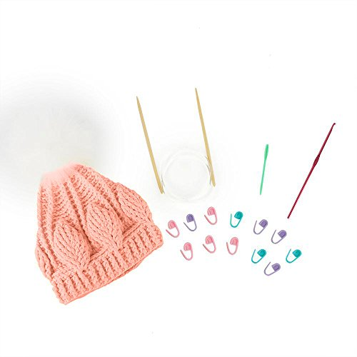 Soft Cotton Knit Kit Yarn To Crochet Hat For Beginner With Fur Ball And Free Online Video By Niceec-Pink by NICEEC