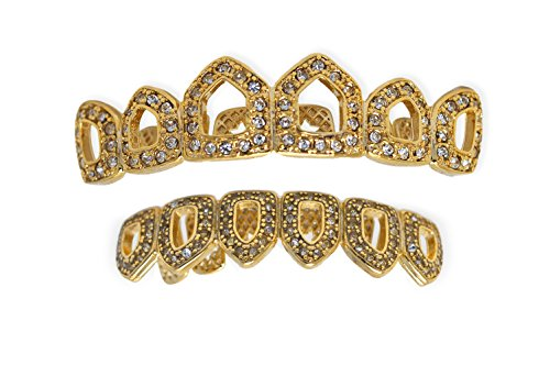 Iced Bling Hip Hop Grillz (Yellow Gold-Tone Iced Out Hip Hop Bling Open Face Removable Grill Grillz Combo Set with Mold Bar)