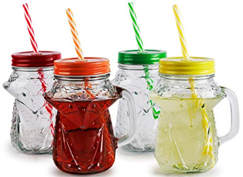 Circleware 69065 Fox Mason Jar Drinking Mug Glasses with Assorted Lid and Straw Set of 4 Kitchen & Home Glassware for Water, Milk, Beer, Ice Tea, Dining Beverage Gift, Farmhouse Decor, 16 oz, Clear ()