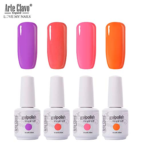 (Arte Clavo 15ml Varnish Soak Off UV Led Nail Gel Polish Nail Art Salon Set 18 of 4 Colors)