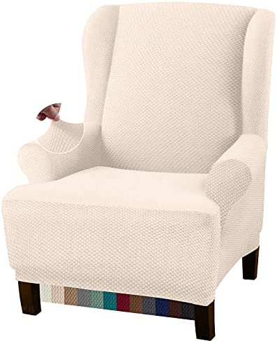 Granbest Premium Thick 1 Piece Wingback Chair Covers for Living Room High Stretch Furniture Slipcovers for Wingback Chairs Stylish Wing Chair Covers Jacquard Fabric (Wing Chair Cover, Beige)