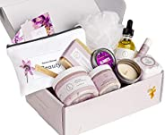 Spa Gift Set, Handmade Lavender Gift Box, Relaxing 9 pcs Package for Women, Including Soap Bar, Facial Mask, S