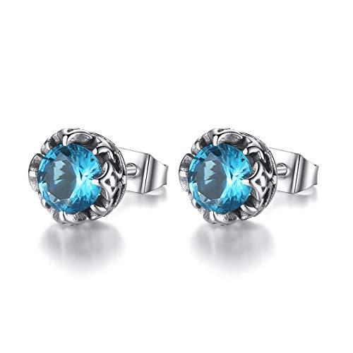 REVEMCN Jewelry Silver Tone Stainless Steel Vintage Stud Earrings for Men Women, Various Styles (Sky Blue CZ)