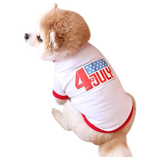 Pet Shirt Small Dog Clothes USA Flag Jacquard Pet Summer Costume 4th of July (M, White) -