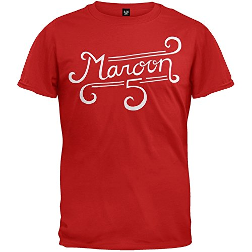 Maroon 5 Merchandise (Maroon 5 - Mens Curl Logo Soft T-shirt Small Red)