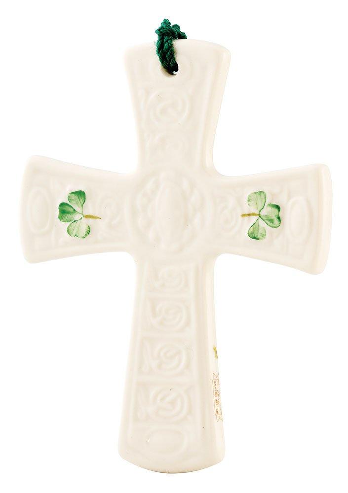 Belleek 4012 Saint Patrick's Cross Ornament, 3.5-Inch, White