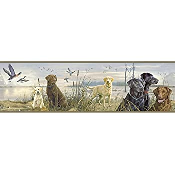 Brewster 418B091 Borders and More Dogs /& Ducks Wall Border 9-Inch by 180-Inch