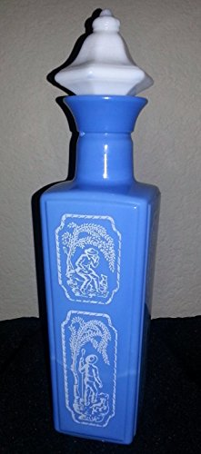 Vintage Jim Beam Bar Liquor Quart Decanter Blue & White Milk Glass Sheppard Boy Dog Deco ()