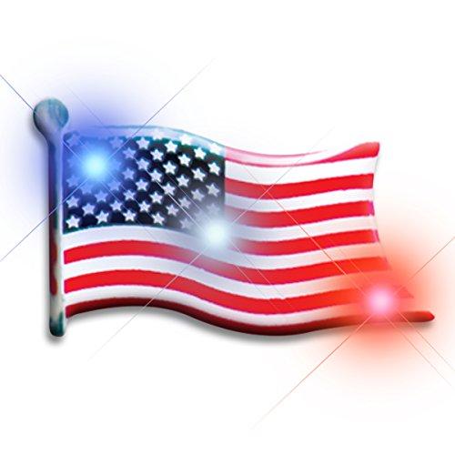 Light Up American Flag Flashing Blinking LED Body Light Lapel Pins (25-pack)