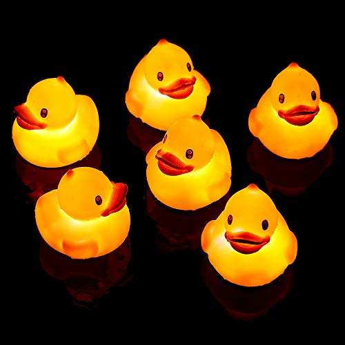 (Fun Central BD103, 6 Pcs, 2.5 Inches, Yellow Liquid Activated Rubber Duck, Light Up Ducks, Flashing Rubber Duckies Bath Toy, Floating Tiny Ducks)