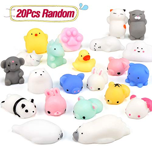 Mochi Squishies Stress Relief Toys 20 PCS Kawaii Animal Squichies Toys Cute Design Soft Squishies Animal Stress Decompression Toys Mini Rising Panda Seal Polar Bear Fox Rabbit Cat and More Squishies