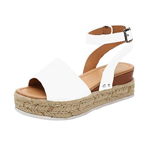 (HIFUAR Women's Espadrille Sandal Platform Wedge Halter Ankle Strap Open Toe Faux Leather Studded Wedge Summer Sandals White US 9)