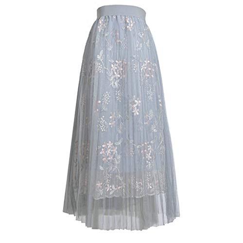 Sweetheart Royal Length Train - JJLIKER Womens Boho Floral Embroidery Lace Skirt Long Maxi Pleated Skirt with Elastic Waistband for Wedding Party Gown Gray
