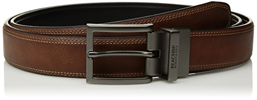 Belt Satin Reversible - Kenneth Cole REACTION Men's Reversible Dress Belt, tan/Black/White Stitching, 30