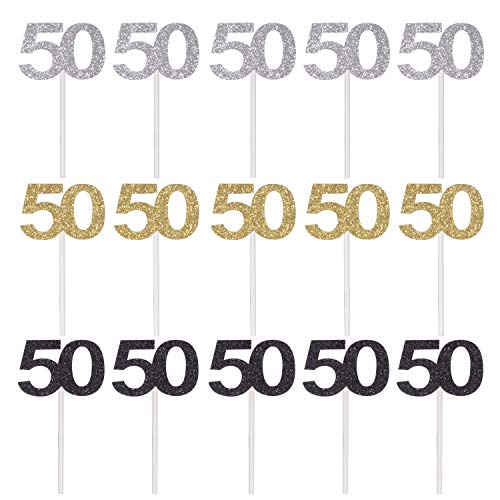 Qibote 36 Pieces Glitter Number 50 Cupcake Toppers For 50th Birthday Decoration Party Supplies