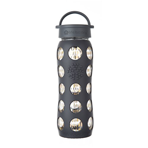Style Water Bottle (Lifefactory 22-Ounce BPA-Free and Fused Gold Glass Water Bottle with Leakproof Classic Cap and Silicone Sleeve, Onyx Free and Fused Gold style)