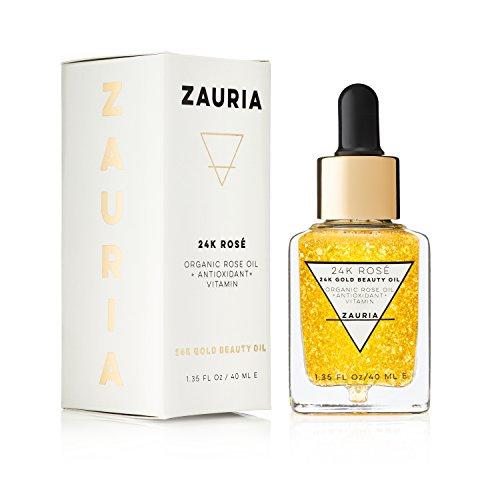 ZAURIA 24k Rosé - 24k Gold Infused Beauty Face Oil with Organic Bulgarian Rose Oil - 40ML
