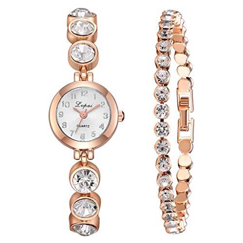 Bravetoshop 3pcs/Set Luxury Fashion Simple Dial Steel Strip Watch Full Diamond Bracelet(Rose Gold)
