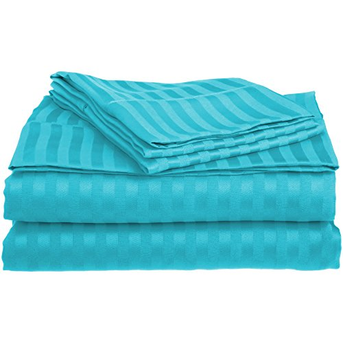 Superior 1500 Series Premium Quality 100% Brushed Soft Microfiber 4-Piece Luxury Deep Pocket Cooling Bed Sheet Set, Classic Sateen Stripe, Wrinkle and Stain Resistant - Queen, Teal