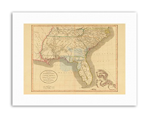 Southeast Florida Maps - Wee Blue Coo MAP Antique 1812 United States South East Georgia Florida Canvas Art Prints