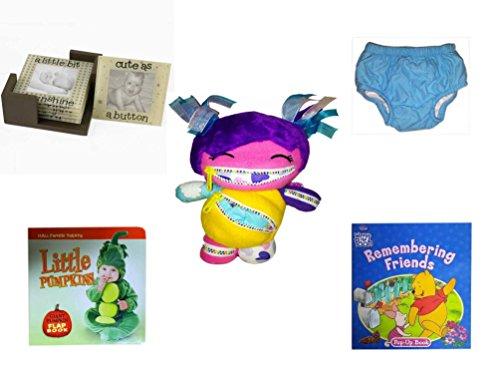 Children's Gift Bundle - Ages 0-2 [5 Piece] Includes: Glass Photo Coasters, Circo Infant Reusable Swim Diaper Blue Size L 18 Months 22-25 lbs, Playdin Zairy Fairy Plush, Little Pumpkins Giant Pumpki by Secure-Order-Marketplace Gift Bundles