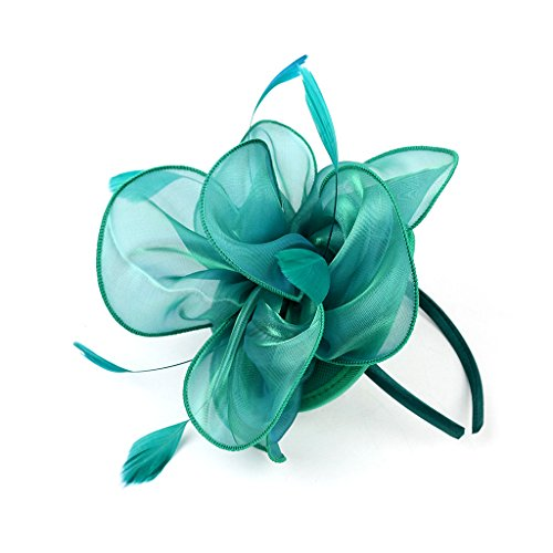 LATIMOON Derby Fascinator Hat Feather Cocktail Tea Party Headwear Dress Accessories Hair Clip for Women and Girls-Green