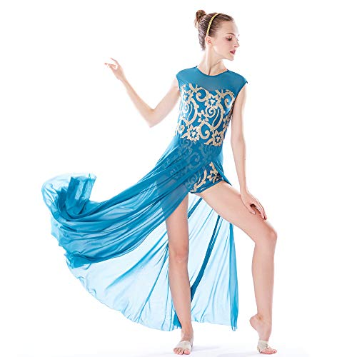 MiDee Lyrical Dress Dance Costume 4 Colors Floral Sequin Tank Leotard Maxi Skirt (MA, Turquoise)