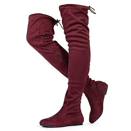 RF ROOM OF FASHION Women's's Faux Suede Fitted Flat to Low Heel Over The Knee High Boots Wine/Burgundy (8.5) ()