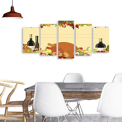 (UHOO 5 Piece Wall Art Painting PrintThanksgiving Day Holiday Card Decorated Table Food Vector. odern Decoration Living Room)