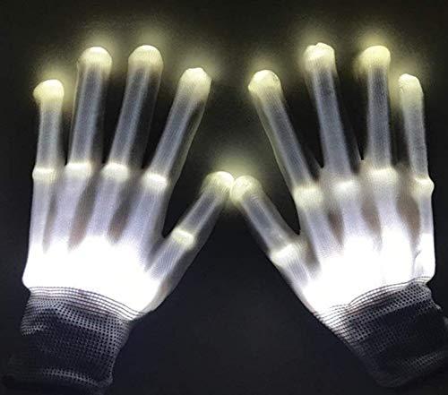 Charlemain LED Handschuhe Kinder (3-7Jährige), leuchtende Handschuhe,Skelett Hand Effekt,5 Farben, glänzende Spielzeug Handschuhe für Weihnachten, Karneval, Party, Geschenk für Mädchen,Junge